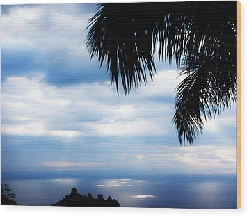 Sea Sky And Palm Tree Wood Print by Rosvin Des Bouillons