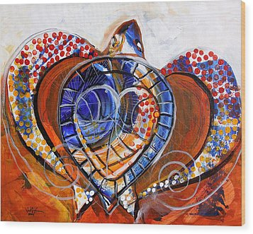Sea Turtle Love - Orange And White Wood Print by J Vincent Scarpace