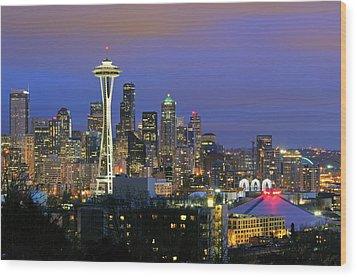 Seattle Skyline Wood Print by Tom Schwabel