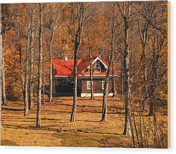 Secluded Red Roof Cottage In An Autumn Scene Wood Print by Chantal PhotoPix