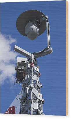 Security Camera On Tower. Wood Print by Mark Williamson