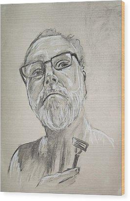 Self Portrait Wood Print by Peter Edward Green