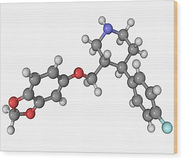 Seroxat Antidepressant Drug Molecule Wood Print by Laguna Design
