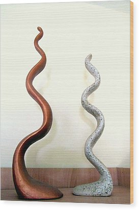 Serpants Duo Pair Of Abstract Snake Like Sculptures In Brown And Spotted White Dancing Upwards Wood Print by Rachel Hershkovitz