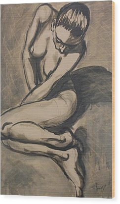 Shadows On The Sand1 - Nudes Gallery Wood Print by Carmen Tyrrell