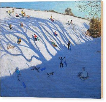 Shandows On A Hill Monyash Wood Print by Andrew Macara