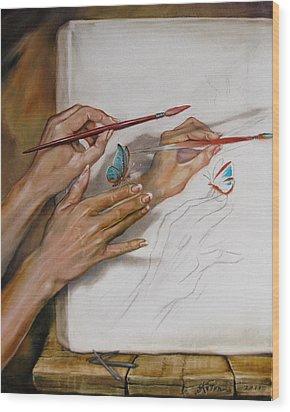 She Paints Wood Print by Martin Katon