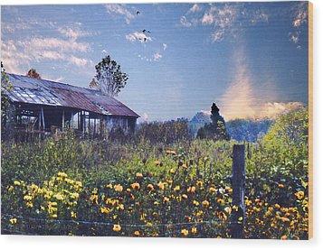 Shed In Blue Sky Wood Print by Walt Jackson