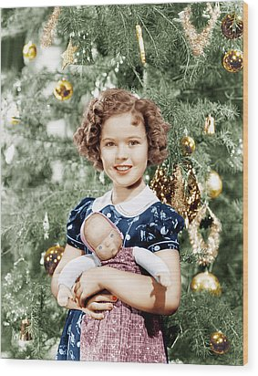 Shirley Temple Holding Doll Wood Print by Everett