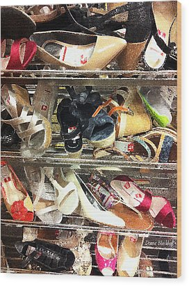 Shoe Sale Wood Print by Donna Blackhall