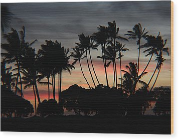 Shooting The Sunset Wood Print by Raquel Amaral