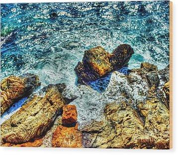 Shores Of The Aegean Wood Print by Michael Garyet