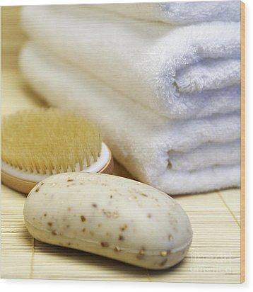 Shower Supplies Wood Print by Skip Nall