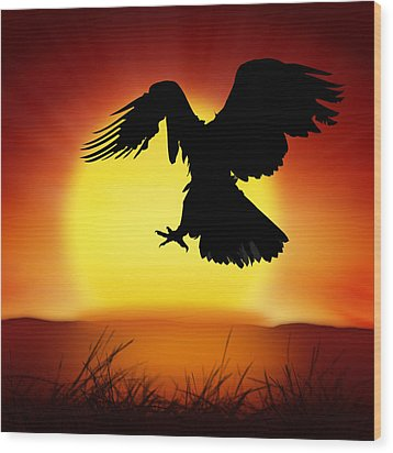 Silhouette Of Eagle Wood Print by Setsiri Silapasuwanchai