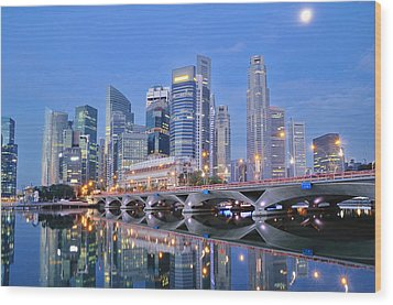 Singapore Central Business District Skyline Wood Print by Photo by Salvador Manaois III