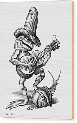 Singing Frog, Conceptual Artwork Wood Print by Bill Sanderson