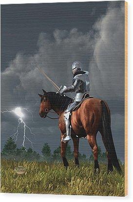 Sir Lightning Rod Wood Print by Daniel Eskridge
