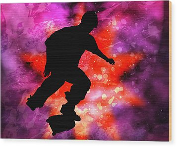 Skateboarder In Cosmic Clouds Wood Print by Elaine Plesser