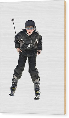 Skier Flying Wood Print by Susan Leggett
