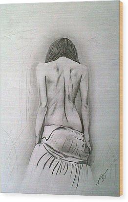 Skirt II Wood Print by Paula Steffensen