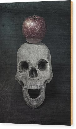 Skull And Apple Wood Print by Joana Kruse