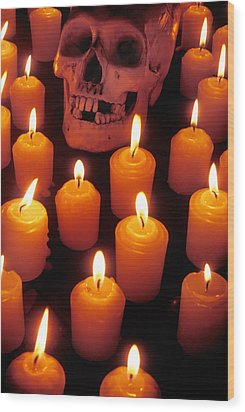 Skull And Candles Wood Print by Garry Gay