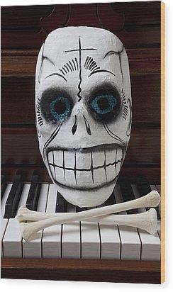 Skull Mask With Bones Wood Print by Garry Gay