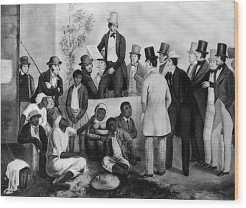 Slavery Auction, In The United States Wood Print by Everett