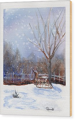 Sleigh Ride Wood Print by Wendy Cunico