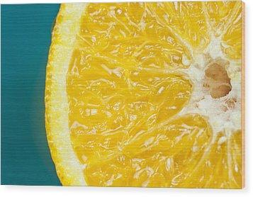 Sliced Orange Wood Print by Bill Brennan