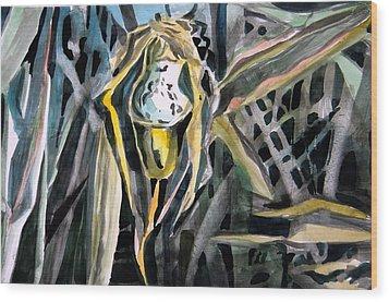Slipper Foot Gold Wood Print by Mindy Newman