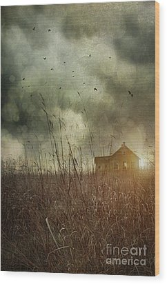 Small Abandoned Farm House With Storm Clouds In Field Wood Print by Sandra Cunningham