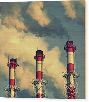 Smoke Coming From Big Chimneys, Moscow Wood Print by Fedor Vilner