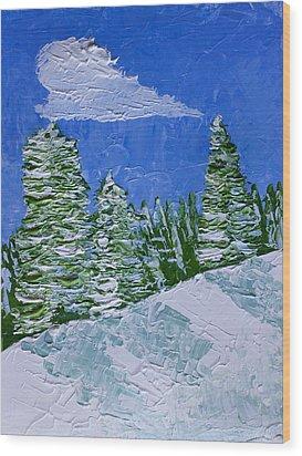 Snowy Pines Wood Print by Heidi Smith