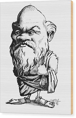 Socrates, Caricature Wood Print by Gary Brown