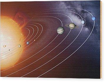 Solar System Orbits, Artwork Wood Print by Detlev Van Ravenswaay