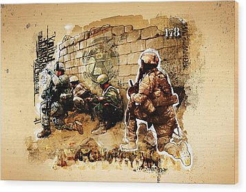 Soldiers On The Wall Wood Print by Jeff Steed