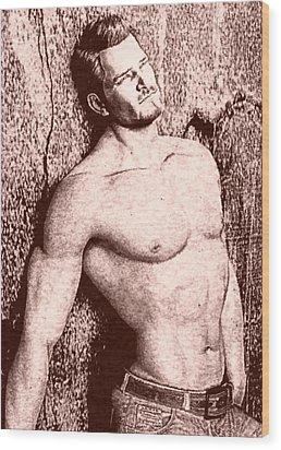Sorrowful Sketch Wood Print by Maynard Ellis