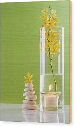 Spa Concepts With Green Background Wood Print by Atiketta Sangasaeng