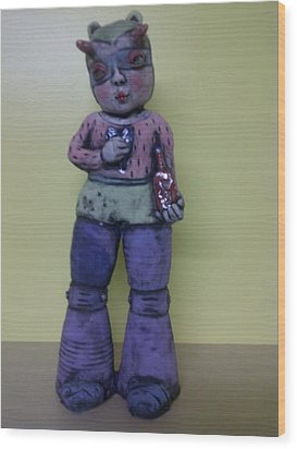 Space Girl With Tincture Bottle Wood Print by Kathleen Raven