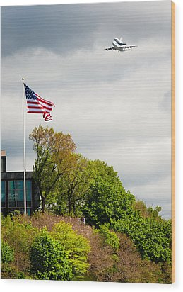 Space Shuttle Enterprise With Us Flag Wood Print by Anthony S Torres