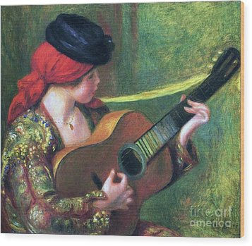 Spanish Girl With Guitar Wood Print by Pg Reproductions