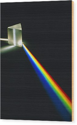 Spectral Light From Prism Wood Print by David Parker