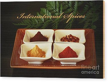 Spices From Around The World Wood Print by Inspired Nature Photography Fine Art Photography