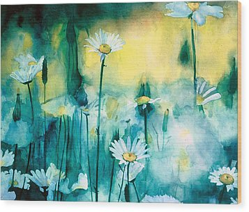 Splash Of Daisies Wood Print by Cyndi Brewer