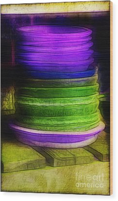 Stack Of Saucers Wood Print by Judi Bagwell