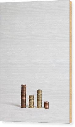 Stacks Of Various European Union Coins Wood Print by Halfdark