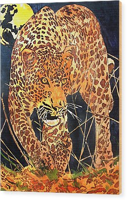 Stalking Leopard Wood Print by Mike Holder