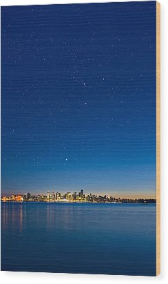 Stars Over Vancouver, Canada Wood Print by David Nunuk