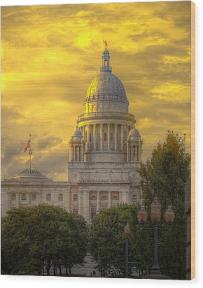 Statehouse At Sunset Wood Print by Jerri Moon Cantone
